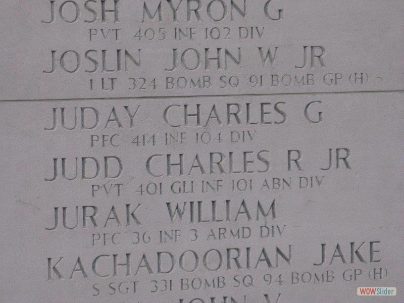 Charles G. Juday 414th Infantry. Adopted by Ronald.